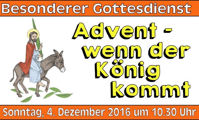 Besonderer Gottesdienst am 4. Dezember 2016 (2. Advent)