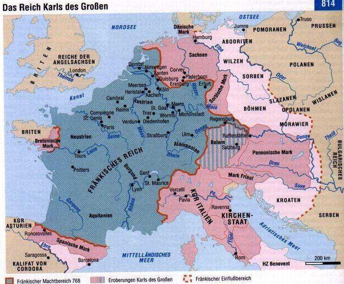Das Frankenreich beim Tode Karls des Großen 814